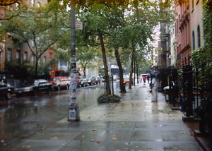 St. Mark's Place in the rain, August 29, 2002